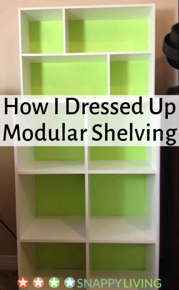 This is one of the simplest, quickest and most affordable furniture upgrades ever. I changed the look of two backless module shelf unit by adding some colorful backing. It was so easy, and took no time at all.