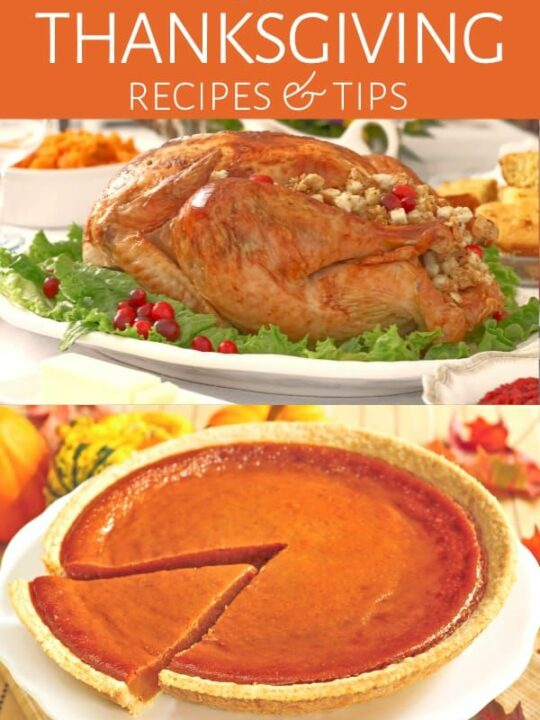 Collage of Thanksgiving dishes on table