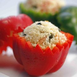 Couscous in a hollowed red pepper