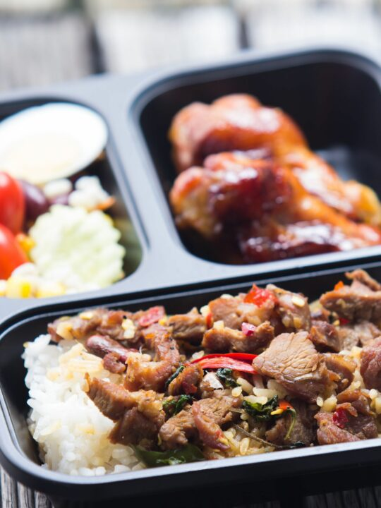 Make ahead freezer meal in compartmented container