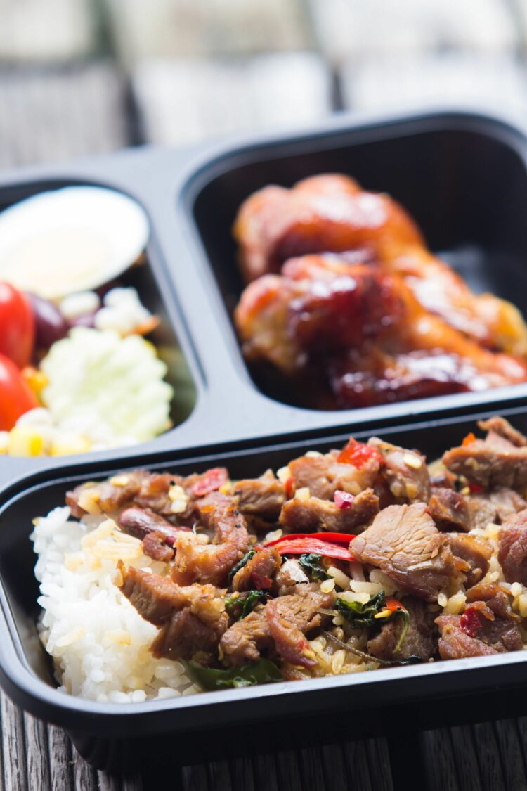 Make-ahead freezer meal in compartmented container