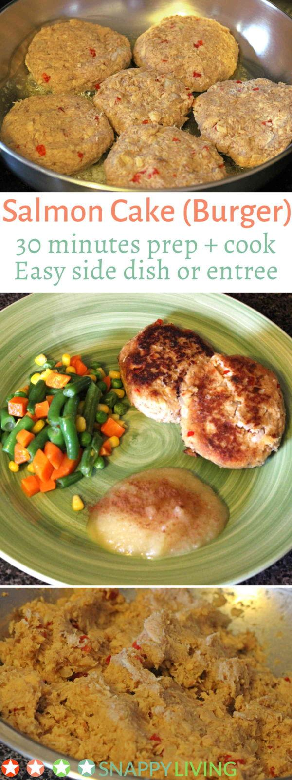 This simple salmon cake recipe is very quick to make, maybe 15 minutes prep time and 10 minutes cook time. While the salmon cakes are cooking, you can cook some quick side dishes, and you've got a quick, easy meal that's filling.