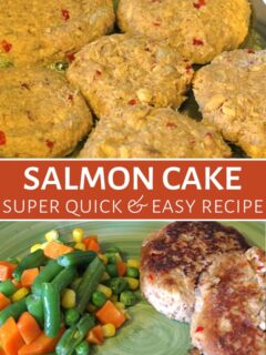 Salmon cakes on plate with vegetables and apple sauce