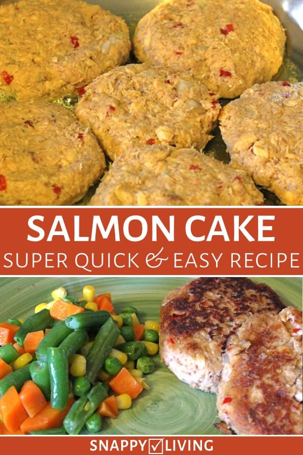 This simple salmon cakes recipe is very easy to make in under a half hour. It uses canned salmon – if you get it with bones and skin in, it's so healthy with all the omega 3 oil. #salmoncakes #salmoncakesrecipe #quickdinners #healthyeating #salmonrecipes