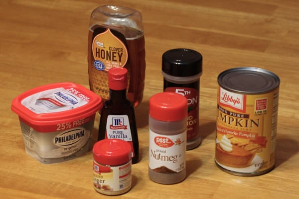 Ingredients for pumpkin spice dip on table