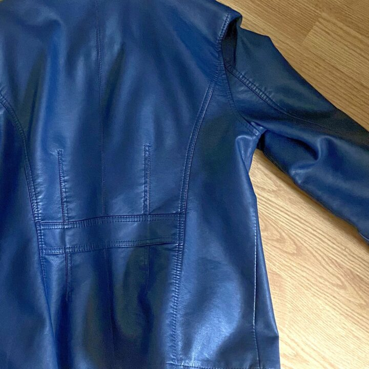Clean blue leather jacket