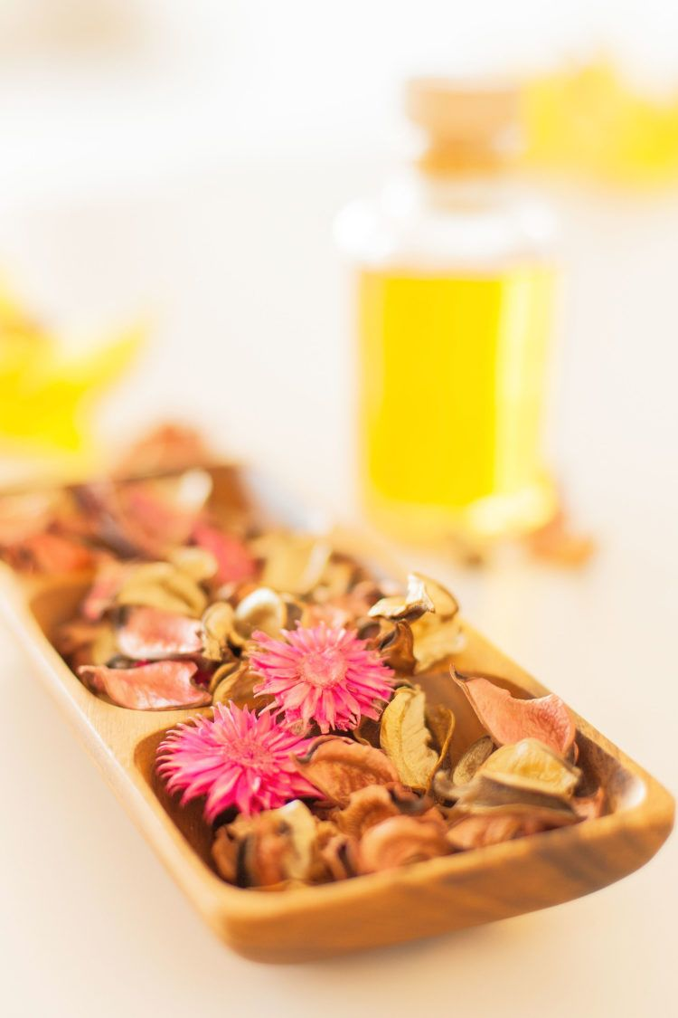 Homemade potpourri in dish on table