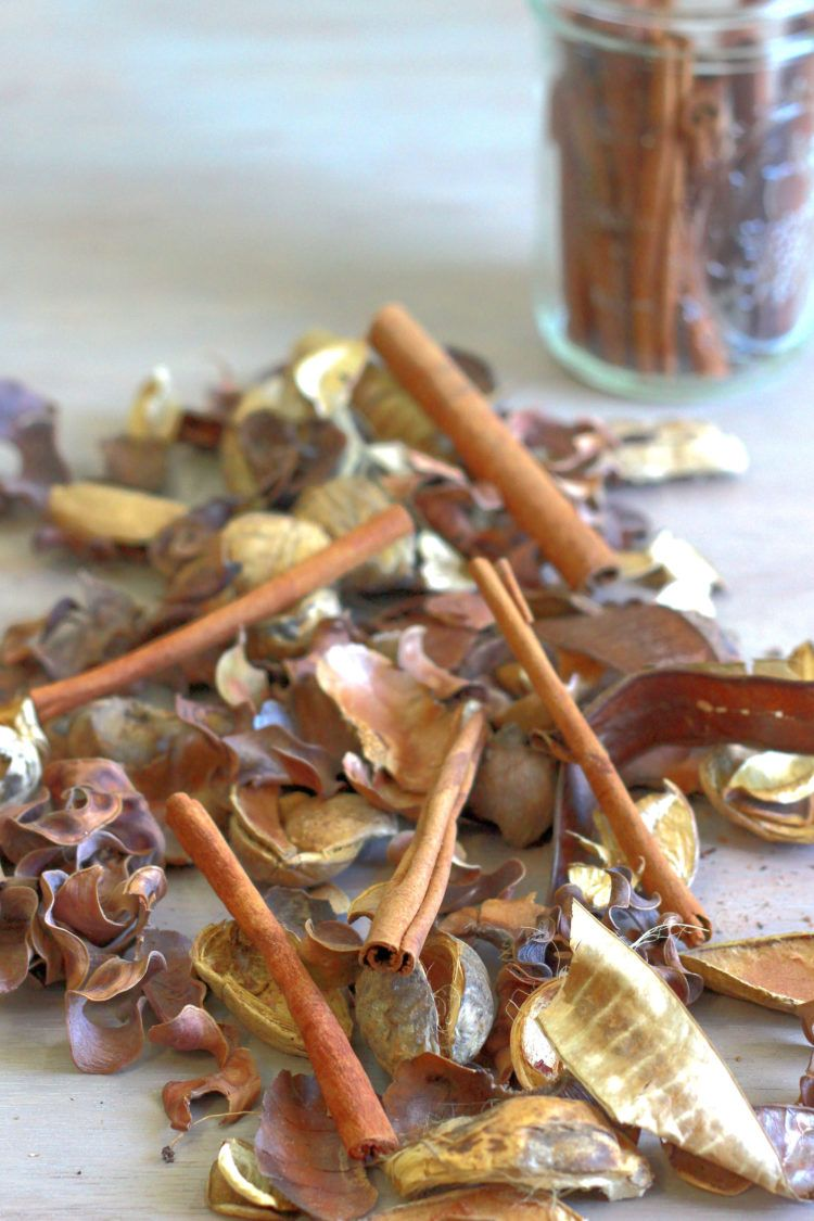 Homemade potpourri scattered on table