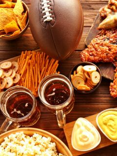 Super Bowl snacks on a table