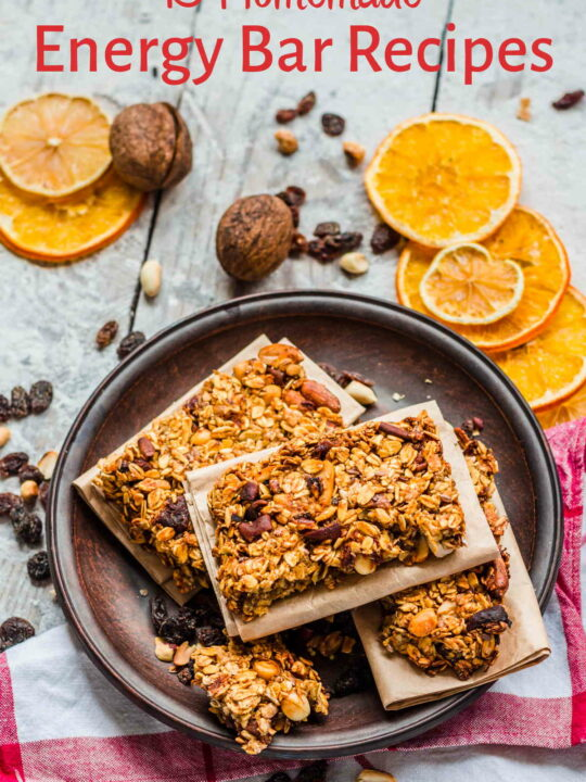 Homemade energy bars on tray on table