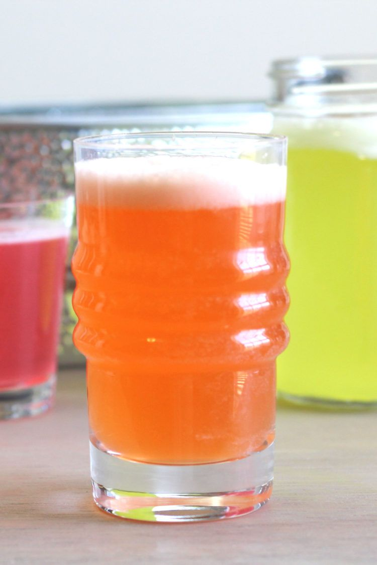 Closeup view of orange homemade energy drink
