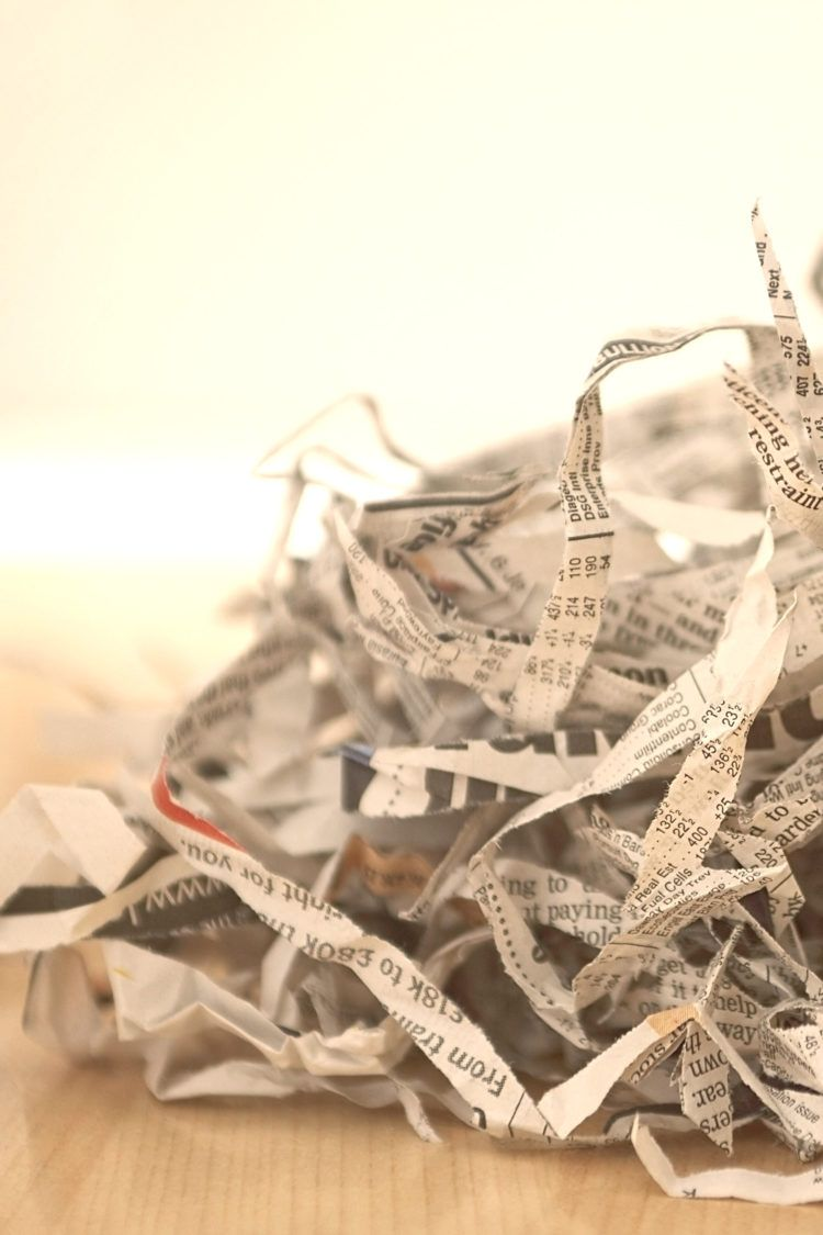 Pile of shredded newspaper