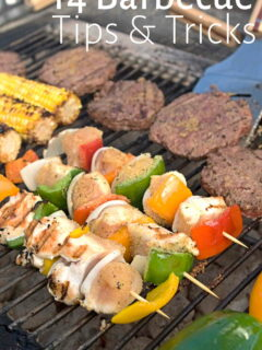 Meat and vegetables grilling outdoors