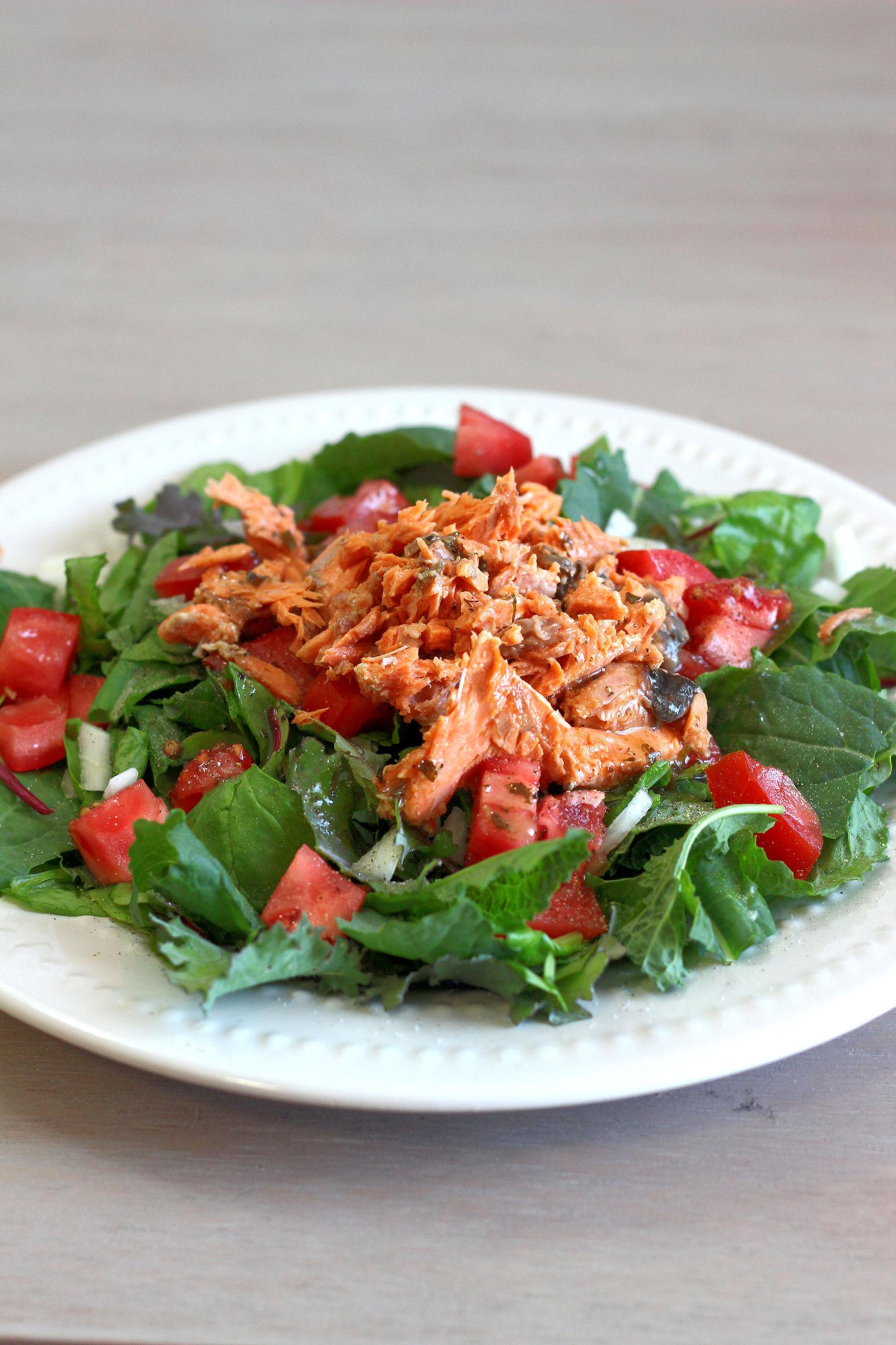 Salmon salad on plate