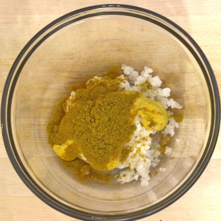 Curry dip ingredients in bowl