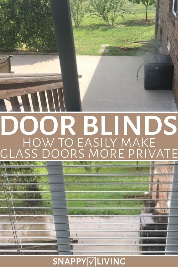 If you have a mostly glass patio door or French doors, you can easily make it feel more private by installing door blinds. These affordable, pre-assembled units are easy to install and let you angle blinds for maximum light and maximum privacy. #doorblinds #doorblindideas #diyhacks #homehacks #homeimprovement #privacy