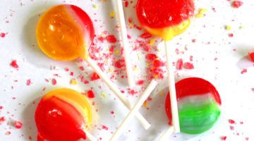 Swirled lollipops made from homemade lollipop recipe