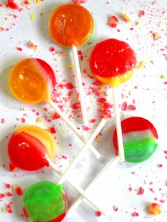 Swirled lollipops made from homemade lollipop recipe