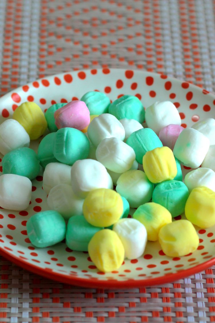 Butter mints on a saucer