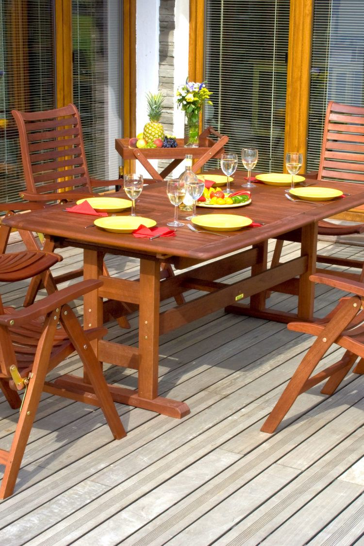 Wooden table and chairs on deck treated with homemade furniture polish