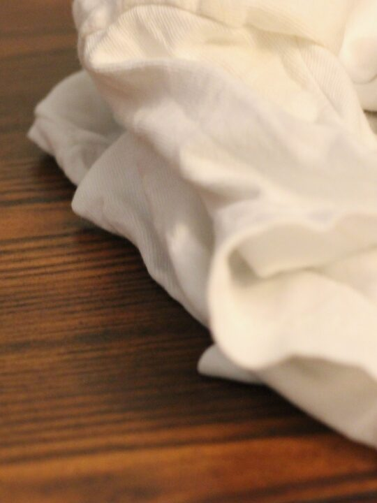 Cleaning cloth on wood surface