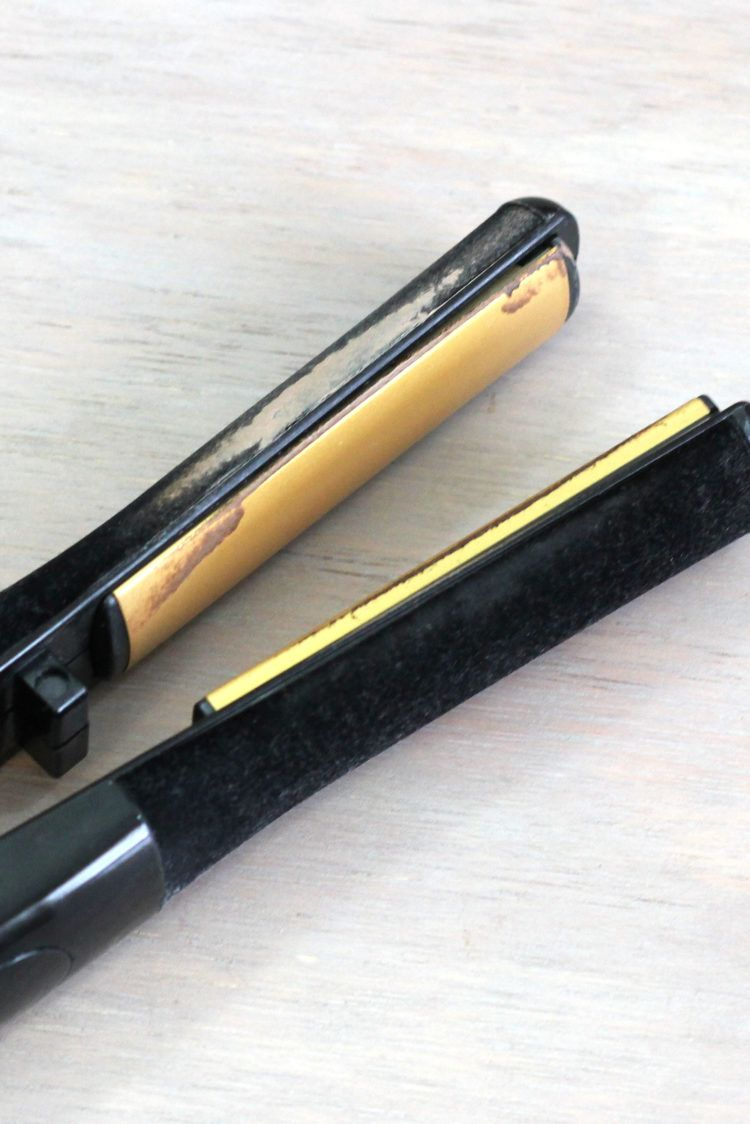 Closeup of grime on a flat iron hair straightener