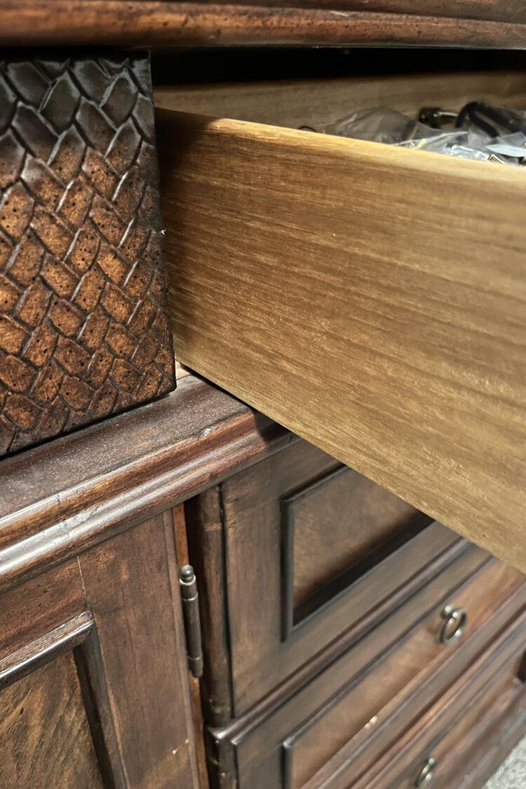 Open drawer in dresser