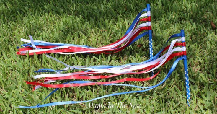 Easy Red White and Blue Patriotic Ribbon Wand