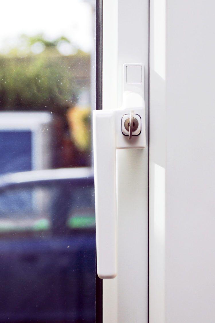 Closeup of home security window lock
