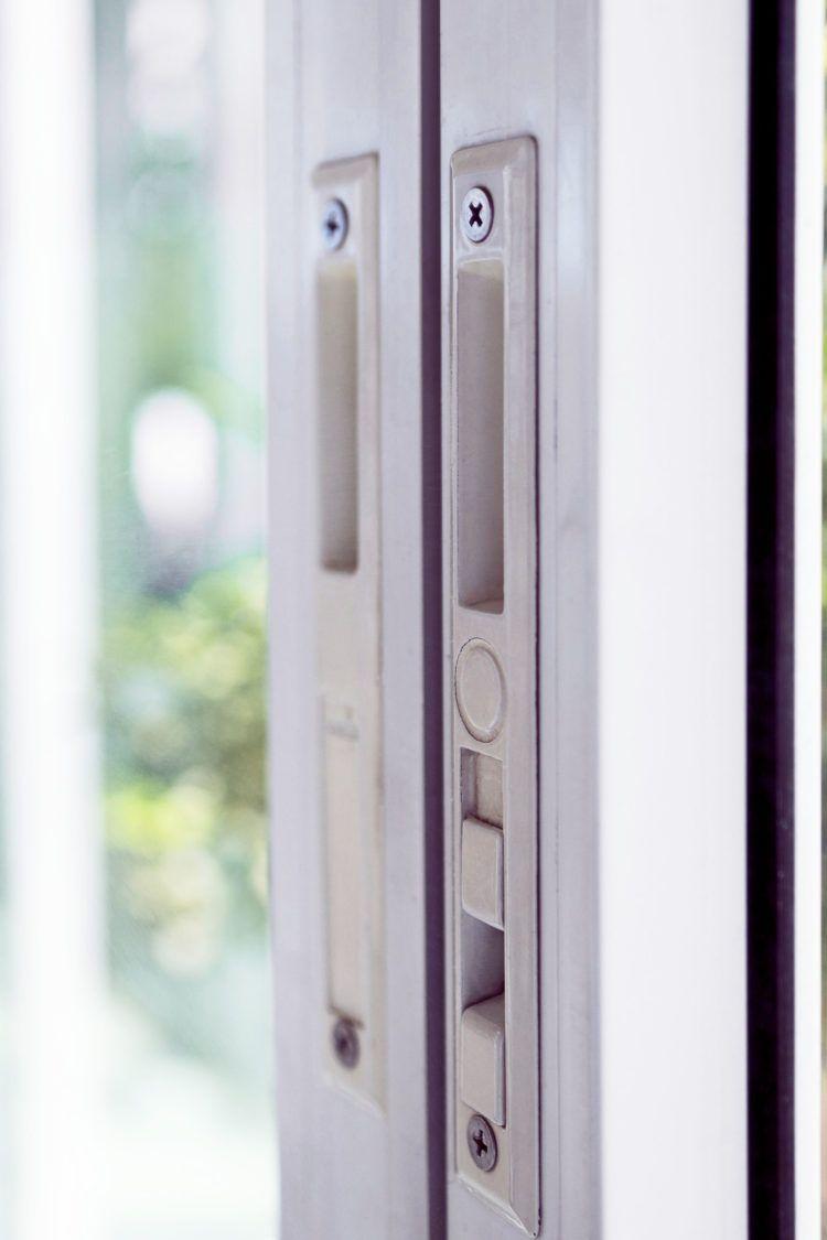 Closeup of lock for sliding glass door