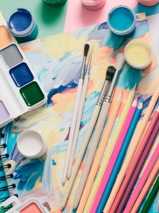 Art and craft supplies on table