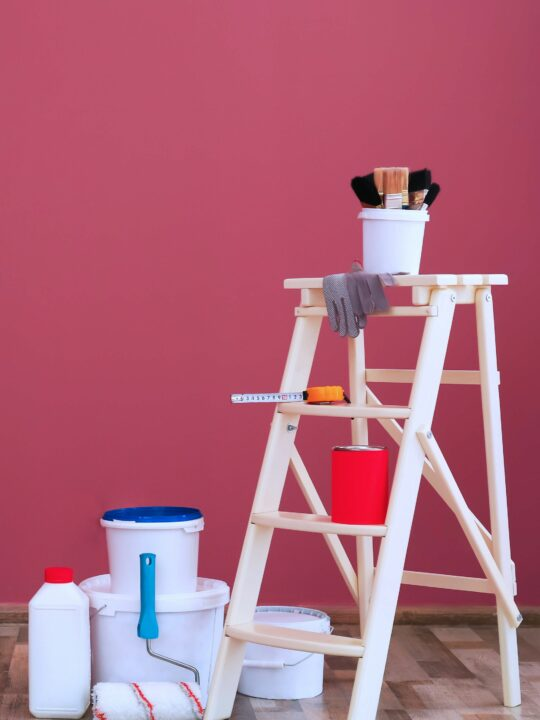 Ladder and paint for DIY projects