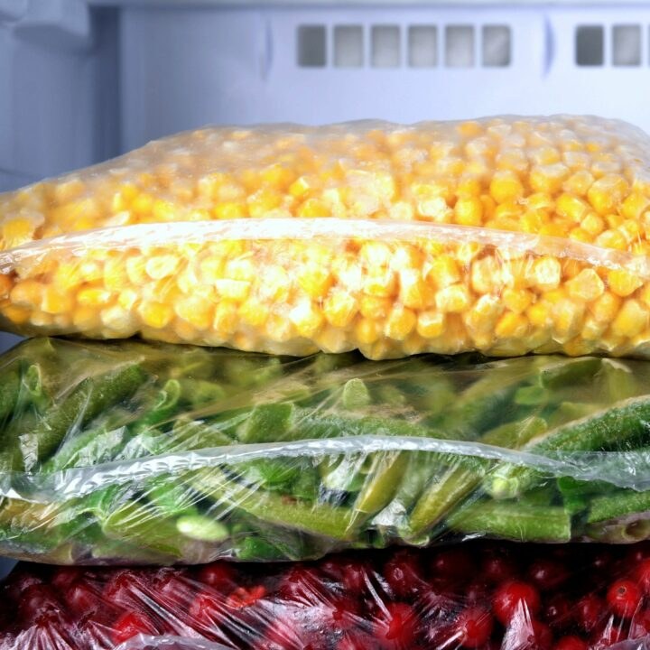 Food items in freezer bags
