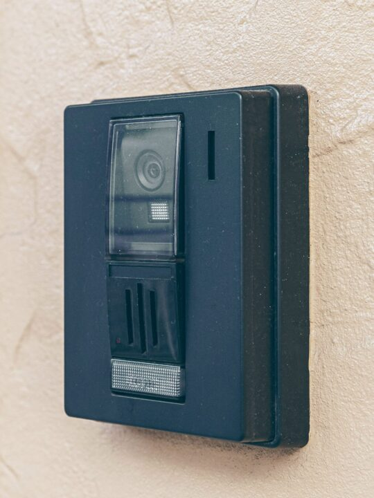 Home security equipment system keypad on wall