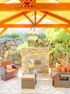 Outdoor patio furniture and firepit