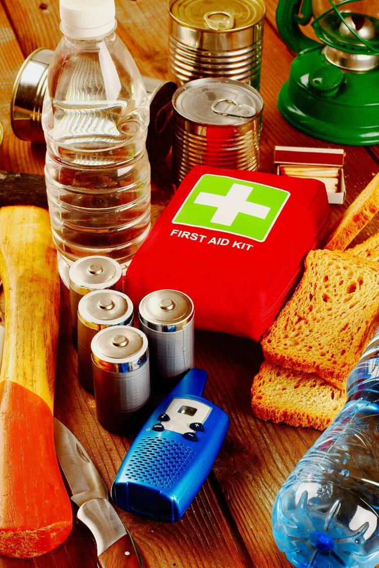 Survival kit supplies on table