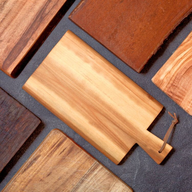 Cutting boards on table