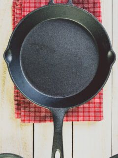 Cast iron skillet on table